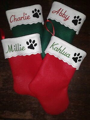 Personalized Pet Stockings - Personalized Pet Felt Christmas Stocking-Dog or Cat-Xmas in July-Free Shipping