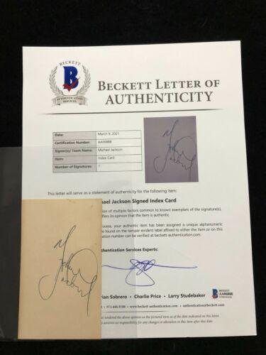 Michael Jackson Signed Autographed Index Card BECKETT BAS LOA