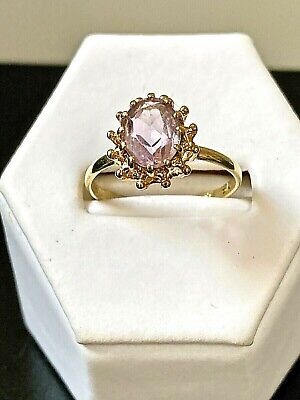 Vintage Pretty Pale Pinkish Lilac Gem Stone Solitaire 9ct Gold Ring UK Size L