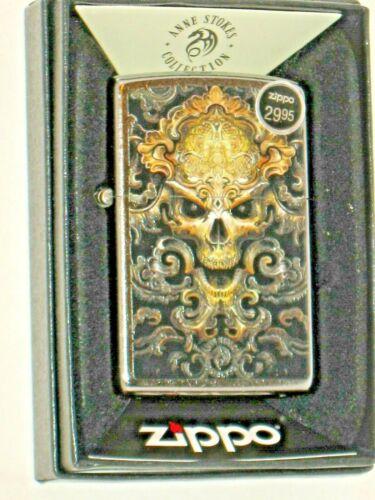 NEW Windproof ZIPPO US Lighter 79593 Anne Stokes Skull Design Street Chrome Case