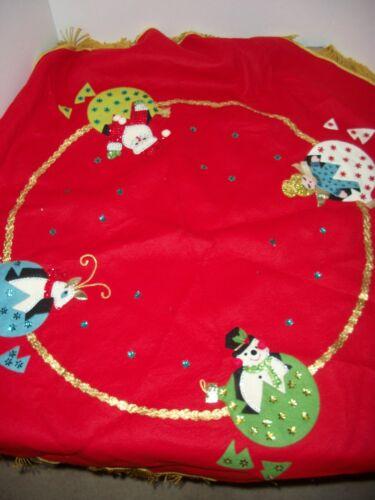 "Vintage Handmade 44"" Round Felt Tablecloth/Christmas Tree Skirt~Sequin Accents"
