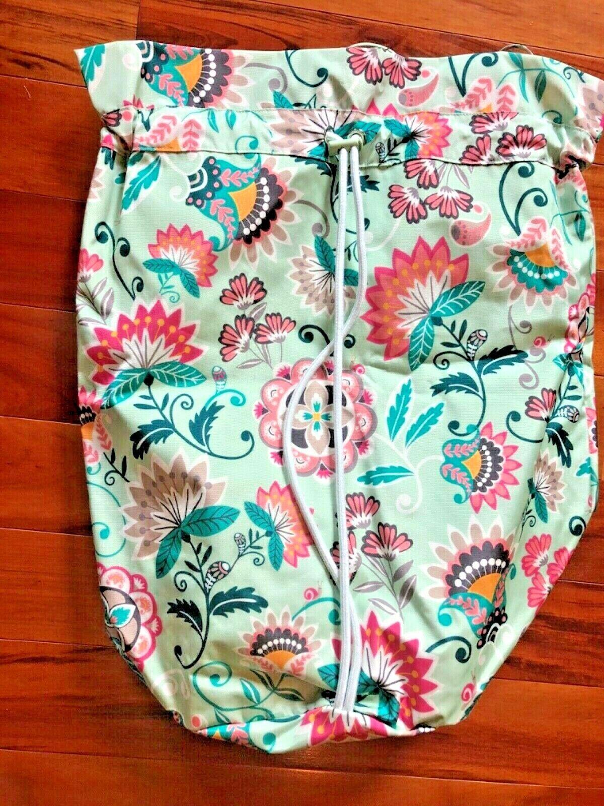 NWT NEW Vera Bradley Laundry Bag Mint Flowers Cinch Sack Ret