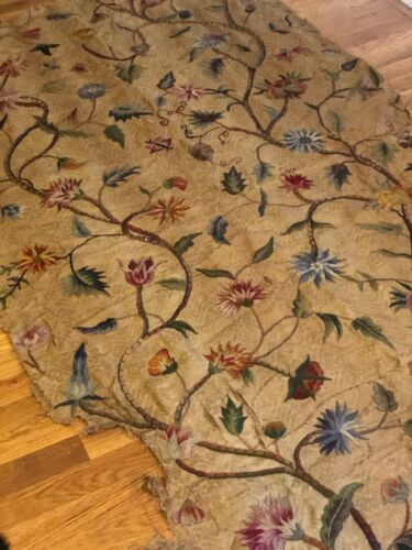 Antique large scale wool hand embroidery on linen, DESIGN, panel, c. 1880-1900