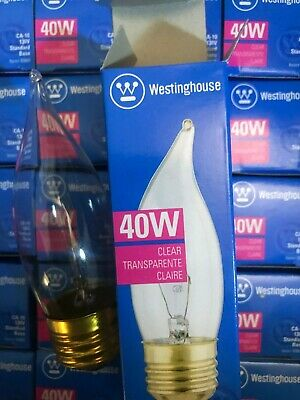 WESTINGHOUSE 40 WATT LOT OF ( 8 ) CA10 BENT TIP CLEAR MEDIUM BASE USA 130V