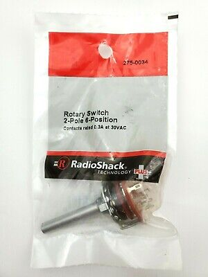 Radio Shack 275-0034 Rotary Switch 2 Pole 6 Position 0.3a 30vac 9mm Mounting