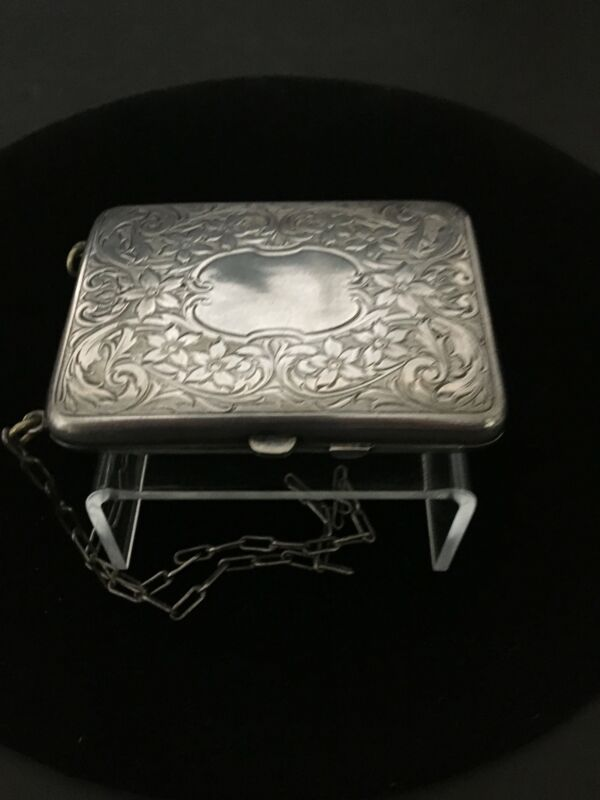 Antique German Silver Wrist Purse with Coin Holder/ Compact