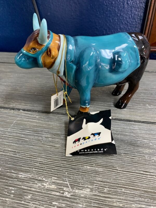 """Cow Parade Figurine - """" DR. MOO D. BROWN """" ( # 7358 - Retired )"""