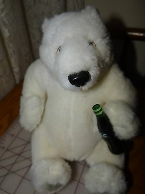 PLush White Polar Bear With COCA COLA Bottle Stuffed Toy COKE Collectible 10""