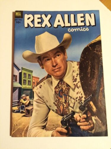 REX ALLEN #7 and #10 western, PHOTO COVERS, DELL, 1953, SKELETON CAVE!!