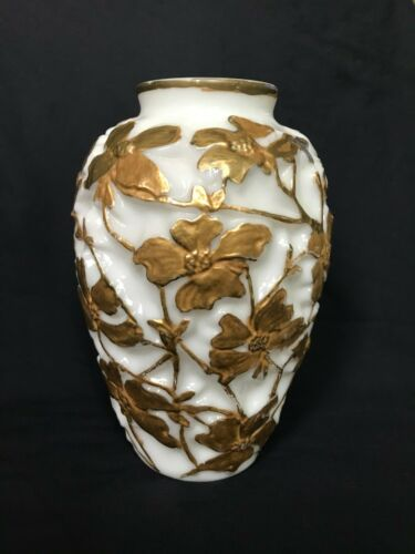 Circa 1930s # 210 DOGWOOD Phoenix Glass Vase GLOSSY MILK GLASS w/GOLD 10 3/4""