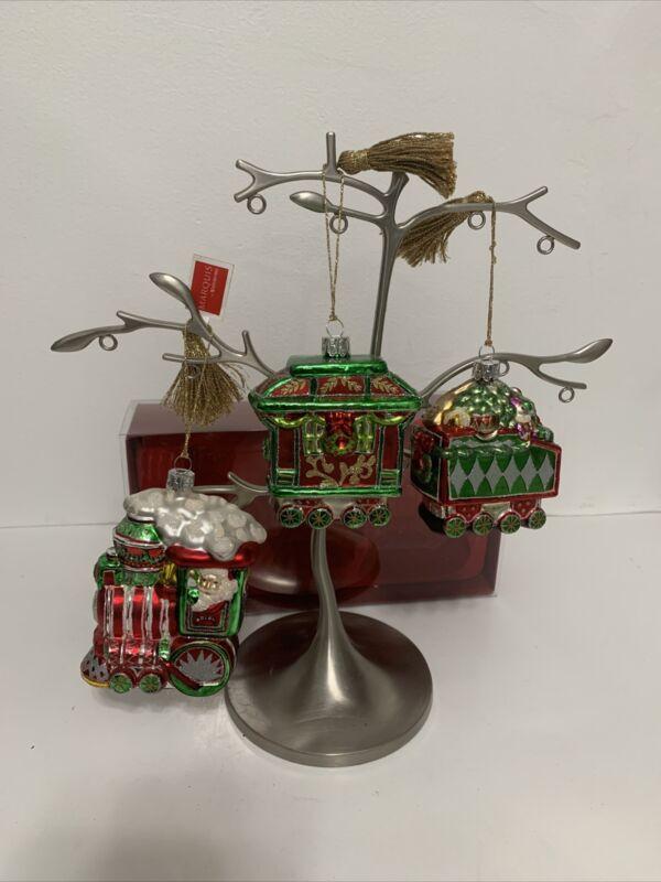 MARQUIS by WATERFORD Set of 3 Train Set Christmas Ornaments W/ Box EUC