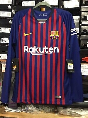 nike Fc barcelona Home Jersey 2019 Long Sleeve #10 Messi Name And Number Size M Barcelona Home Long Sleeve