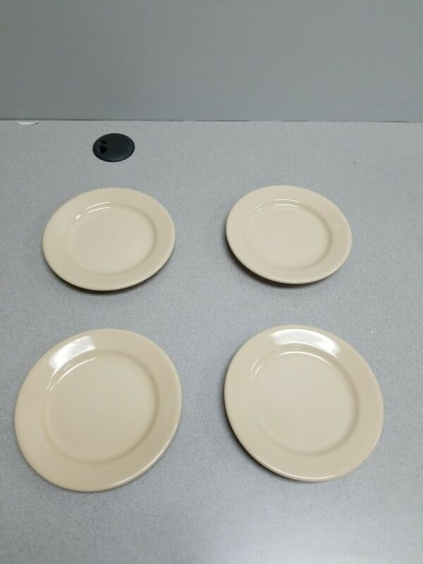 4 BUFFALO CHINA CAFE RESTAURANT WARE TAN SALAD / BREAD PLATE 6 1/4 Inches