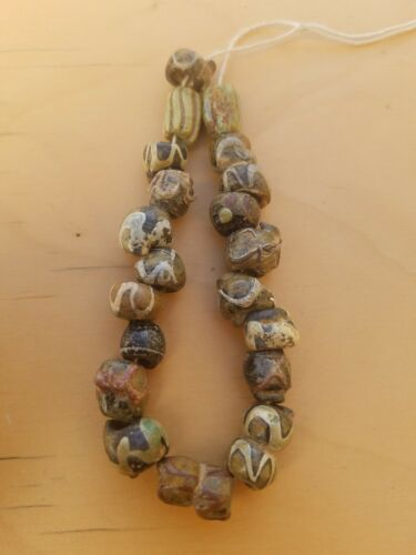Ancient Antique old Islamic Mosaic Beads Necklace trade Roman beads 31 G