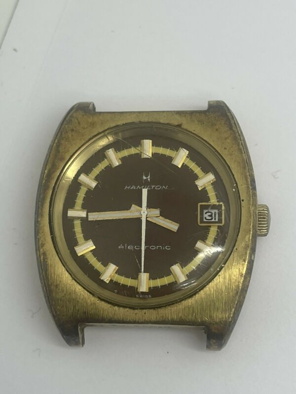 Hamilton Electronic Rare Vintage Watch- 683006-4 Gold Tone - As Is