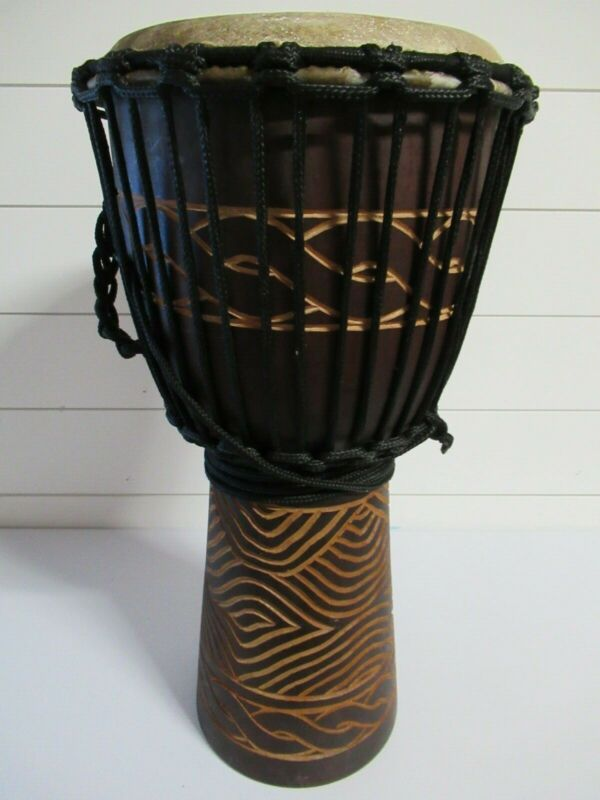 "Djembe Drum 20"" tall, 10"" goat skin, with cover Preowned"