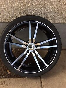 20inch velocity rims with low profile rubber.