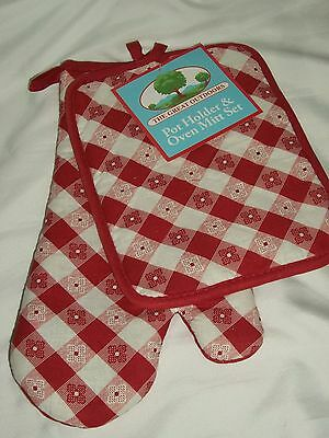 Red Kitchen Picnic Check Pot Holder Oven Mitt Set Baking Hot Pads Glove
