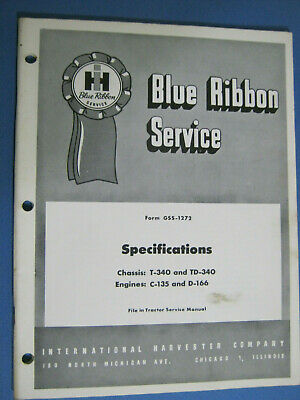 International Service Manual Oem Gss 1272 Chassis Engine T 340 Td C 135 166