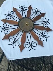 Phinney Walker Wall Clock Mid Century Vintage Sunburst Retro. Battery. Modified