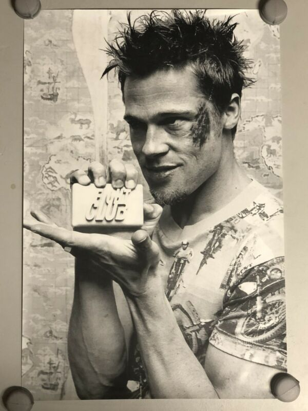 """Brad Pitt Holding Soap Fight Club Movie Poster 24""""x36"""" Poster Rare New Condition"""