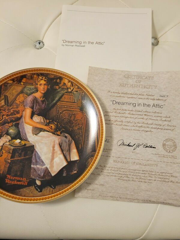 """NORMAN  ROCKWELL """"DREAMING IN THE ATTIC"""" COLLECTOR PLATE W CERTIFICATE"""