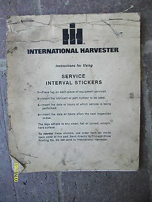 Vintage Ih International Harvester Service Interval Stickers