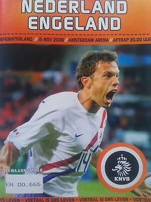 Holland v England 15/11/2006 Friendly International Mint condition.
