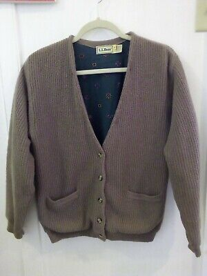 VTG LL Bean Tan Ribbed Lined Cardigan Button Pocket V Neck 100% Lambswool L Pocket V-neck Cardigan