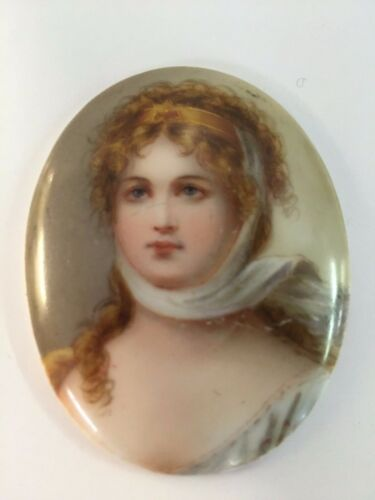 Oval Framed Portrait On Porcelain of Queen Louise of Prussia