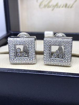 CHOPARD HAPPY DIAMONDS WHITE GOLD SQUARE EARRINGS 842768-20 BNIB $26,730 RETAIL!