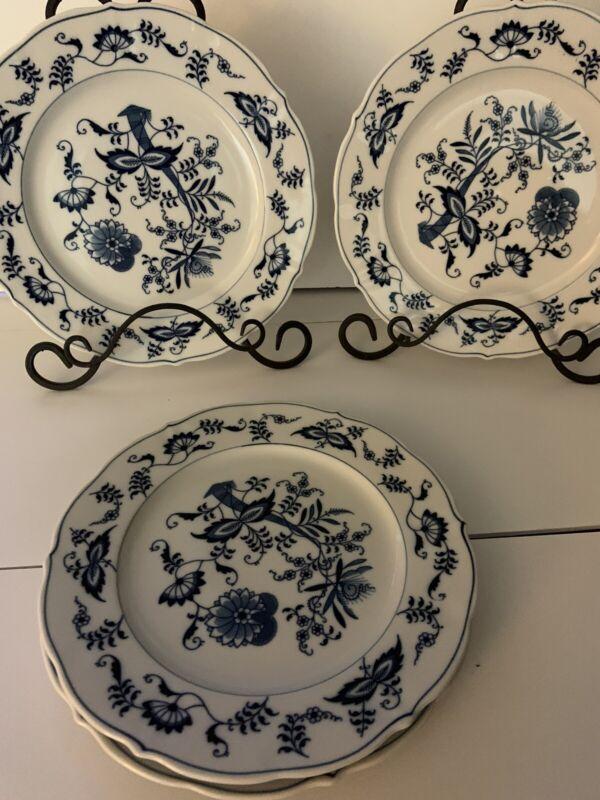 "4 Vintage Blue Danube Onion Pattern 101/2"" Round Dinner Plates Japan"