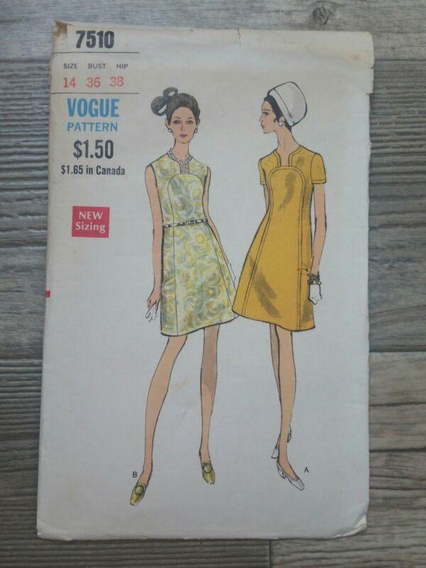 Vintage Vogue Sewing Pattern 7510 Dress Sz 14