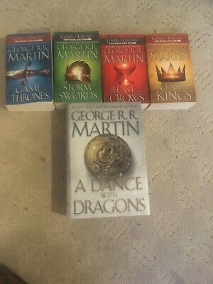 Game of Thrones Complete Set Books 1-4 in paperback book 5 in hardcover