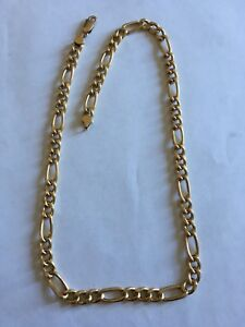 """GOLD chain Italy 14k 17g 18.5"""" 7mm chaine en OR figaro"""