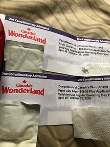Total 2  X General Admission Canada's Wonderland Pass