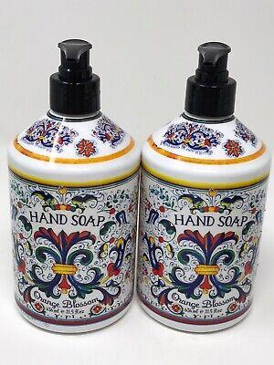 Orange Blossom Italian Deruta Collection Home Body HAND SOAP lot of 2 -
