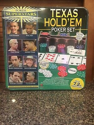 Texas Hold'em Poker Set-New in Beautiful Tin-Factory Sealed Closed