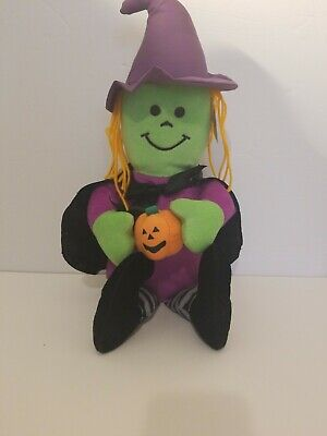 CUTE Halloween Good Stuff Plush Witch With Pumpkin Plush Cape Purple Orange Hair