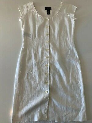 Lauren Ralph Lauren Petite 100% Linen Button Front Dress Women's Sz 6P Off White