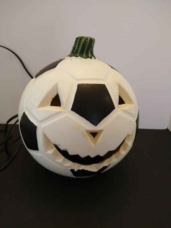 "Lighted Soccer Ball Blow Mold-Jack O Lantern Pumpkin-Vintage Halloween-8"""