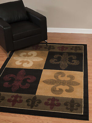Black Fleur De Lis - Fleur De Lys Fleur De Lis European Orleans Black Area Rug **FREE SHIPPING**