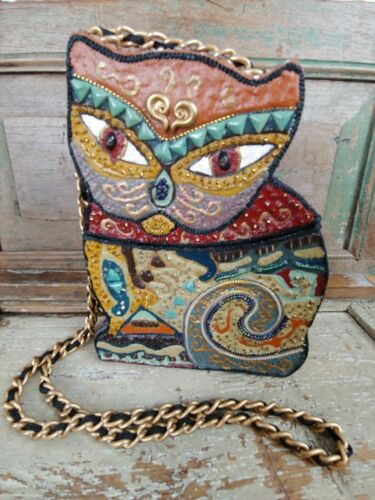 Cat Purse Mary Frances Box Detailed Beaded Beads Kitty Bag Long Strap Chain