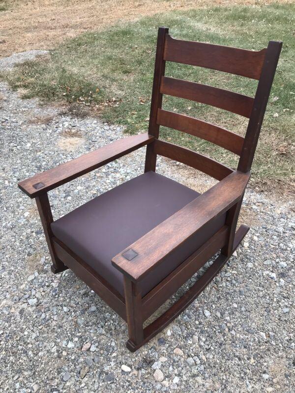 Antique Large Signed Arts Crafts Mission Oak Gustav Stickley Rocking Chair
