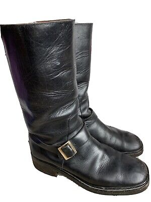 GUCCI Vintage Black Leather Buckle Moto Engineer Boots Size 9 Authentic