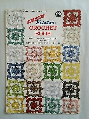 VTG FAMOUS PURITAN CROCHET BOOK #114 Hats Bags Tablecloths Bedspreads Doilies](Puritan Hats)