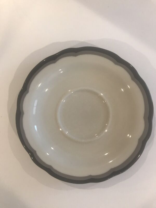4 Vintage Buffalo China Saucers Restaurant Ware Gray and Black Scalloped Rim