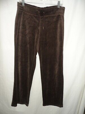 MERONA Brown Pull-on Elastic Waist Stretch Velvet Cotton Velour Pants Size S M Brown Velour Pants