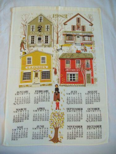 1983 Kitchen Dish Towel Calendar w/ Country Village Shops Cotton B & D