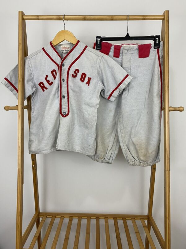 VTG 50s 60s Boston Red Sox Two Piece Baseball Wool Jersey Size YOUTH S